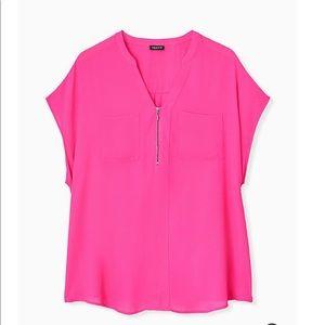 NWT Torrid Hot Pink Zippered Top